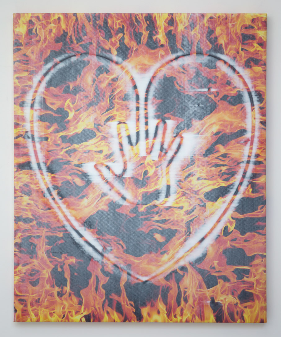 Jonathan Kelly - Hand on Heart (Fire) - Acrylic and digital print on polyester - 77x66cm